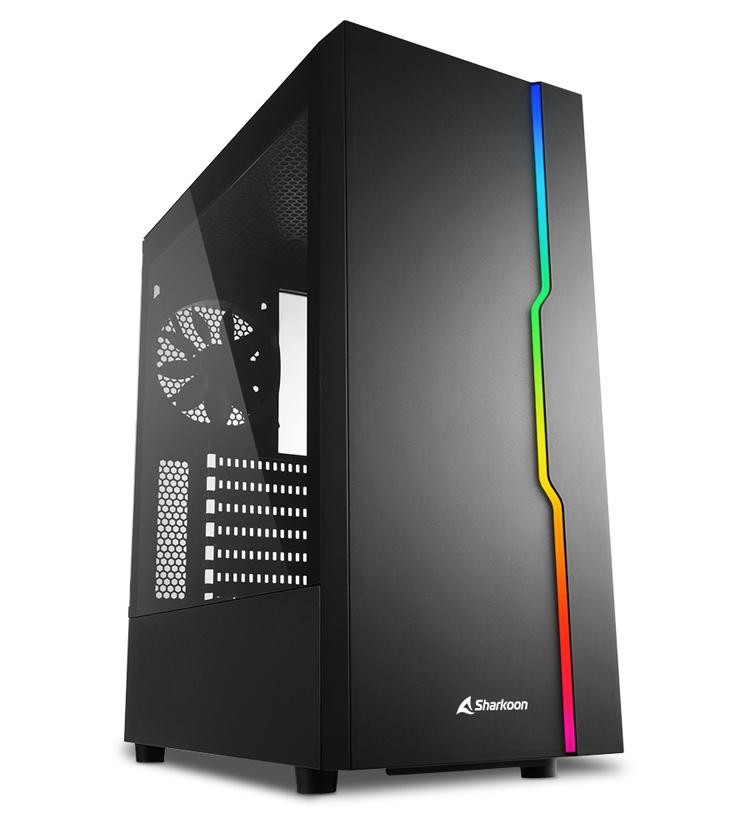 Строгий ПК-корпус Sharkoon RGB Slider оборудован адресуемой подсветкой