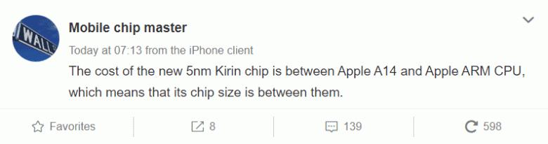 5-нанометровая платформа Huawei Kirin 1020 оказалась дороже 5-нанометровой Apple A14