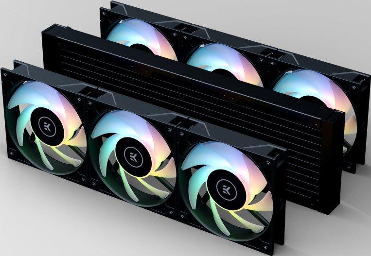 Система жидкостного охлаждения EK-AIO Elite 360 D-RGB комплектуется шестью вентиляторами