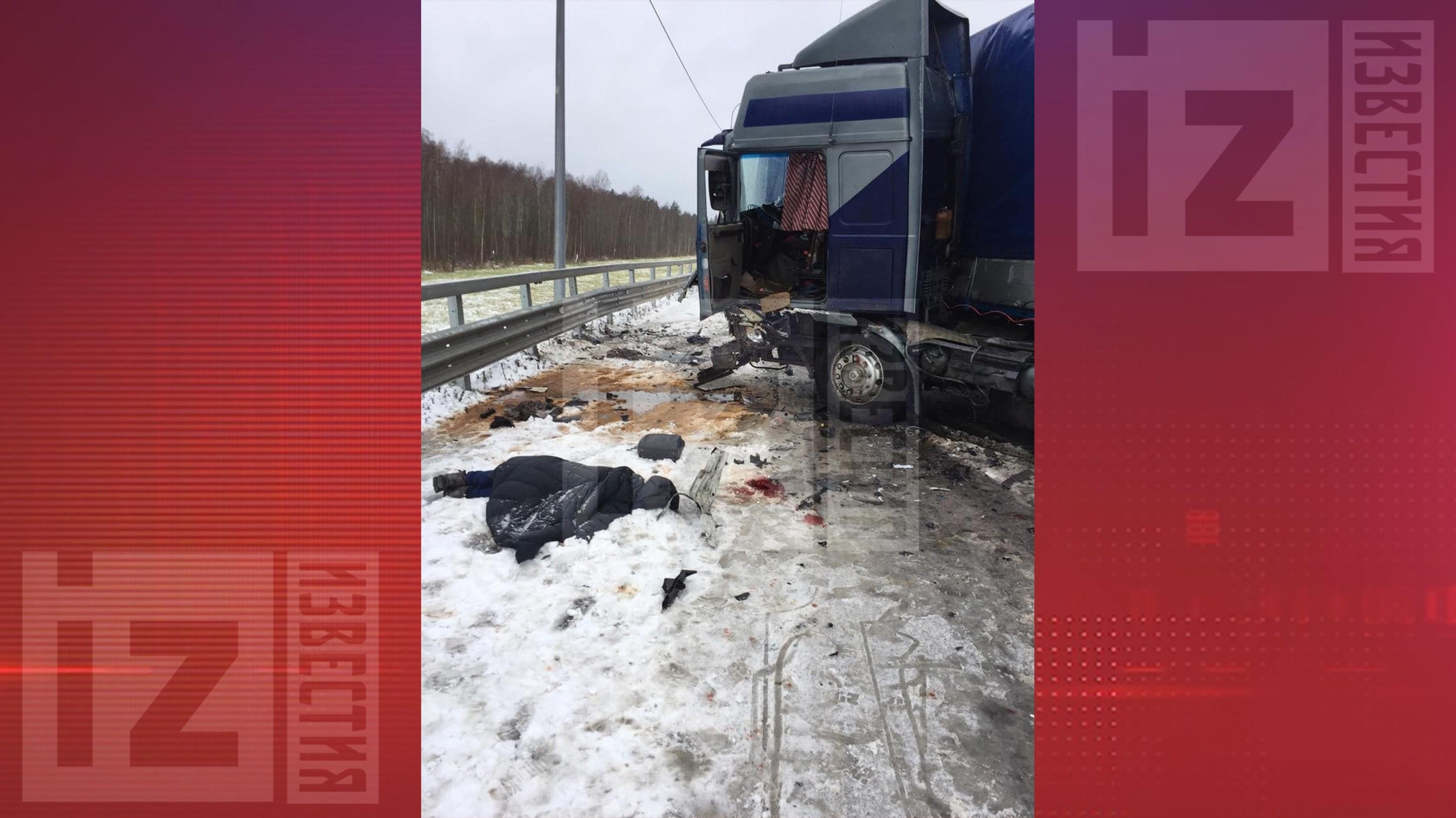 Видео последствий лобового столкновения автобуса с грузовиком в Ленобласти
