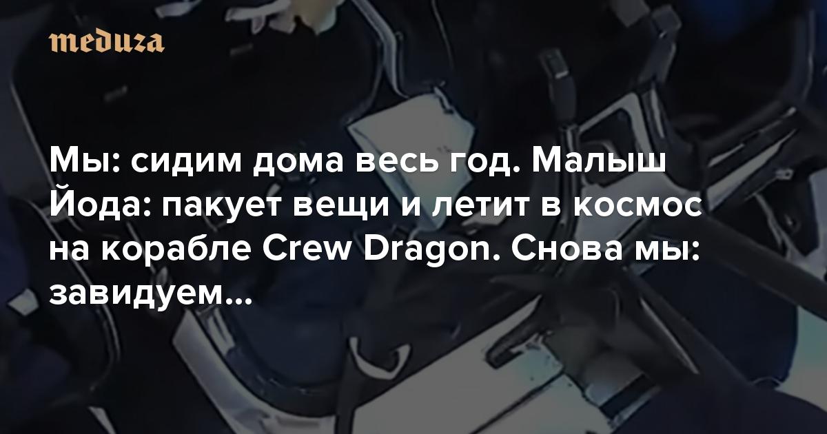 Мы: сидим дома весь год. Малыш Йода: пакует вещи и летит в космос на корабле Crew Dragon. Снова мы: завидуем…